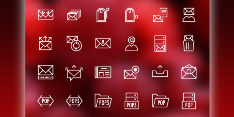 line mail vector icon set