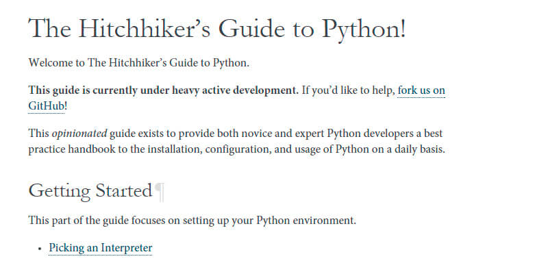 The Hitchhiker S Guide To Python Practice Handbook Bypeople