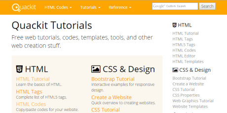 quackit tutorials web development design