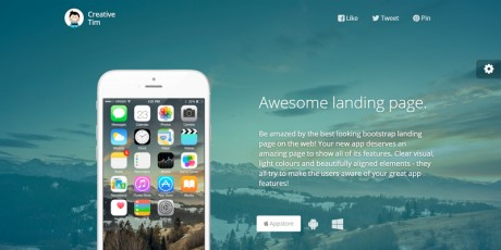 awesome html app landing page