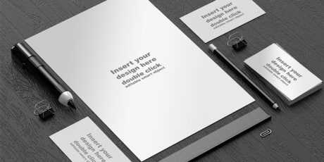 black and white office mockup