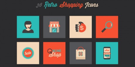 vector psd png retro shopping icons