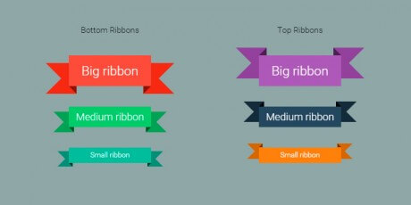 bottom top css ribbons
