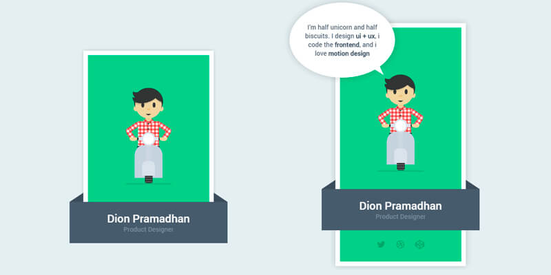 Flat Animated Profile Card Bypeople