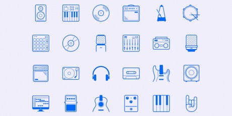 music studio line icon set