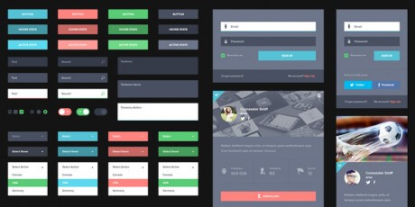 dark flat psd user interface kit