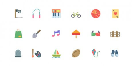 flat activities icons