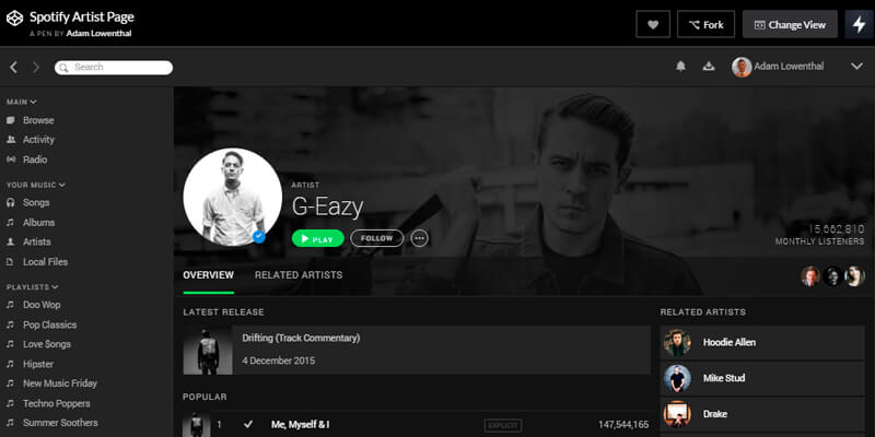 CodePen Spotify Artist Page | Bypeople