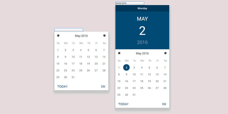Material Design jQuery Datepicker | Bypeople
