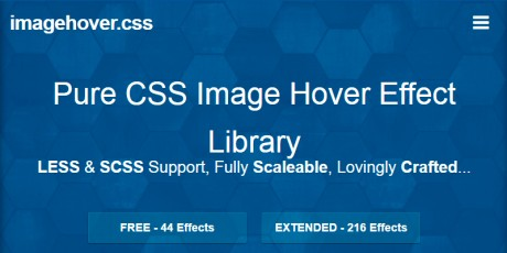 pure css image hover library