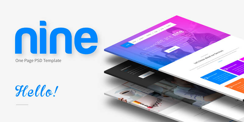Nine: Simple One-page PSD Template