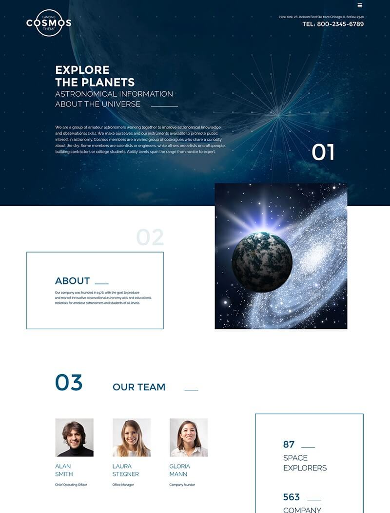 Cosmos Landing Page Website Template