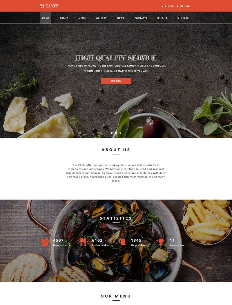 Tasty Website Template