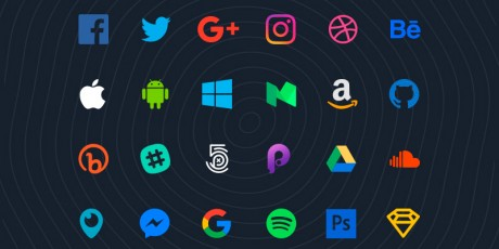 flat social sketch icons