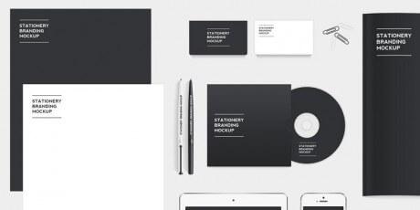 free stationery branding psd mockup