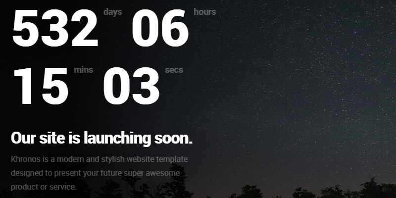 Khronos: HTML Coming Soon Web Template   Bypeople