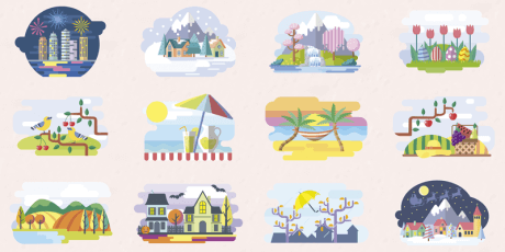 months seasons vector illustrations set