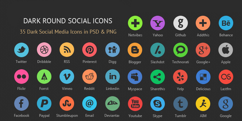 35 Dark Rounded Social Icons, PSD & PNG | Bypeople