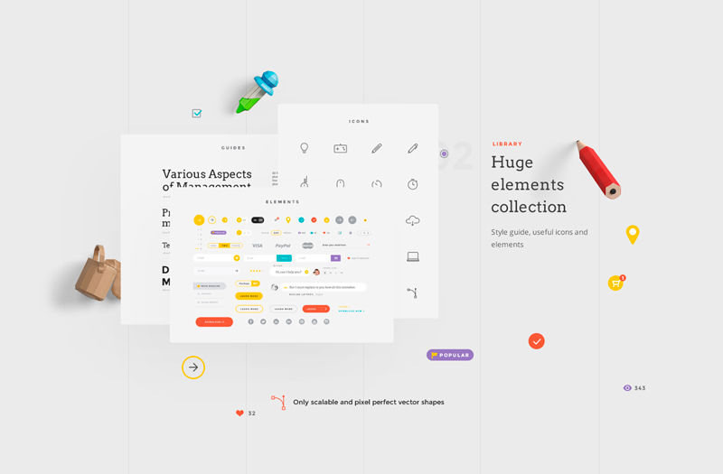 Landing free colorful sketch psd ui kit bypeople it has a huge elements collection including 80 layouts in different popular categories the total download weighs around 150mb fandeluxe Image collections