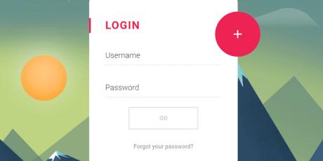 css js material login form