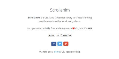 css3 js scroll animation library