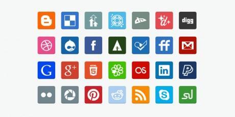 flat social media icons psd