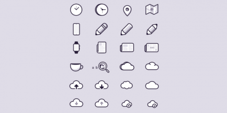 free flat outlined psd icons