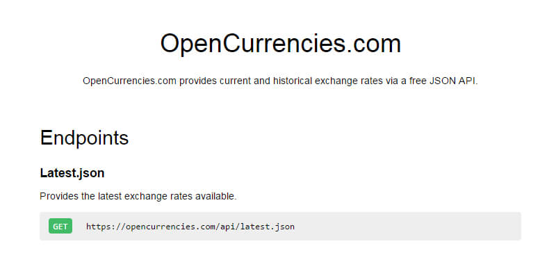 OpenCurrencies: Free Online Currency Exchange API | Bypeople