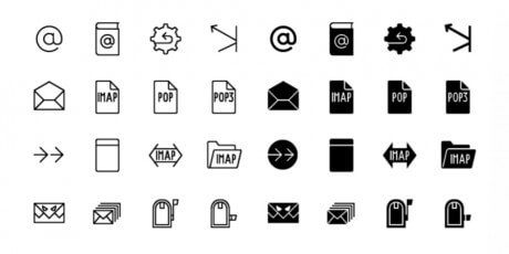mail line icons set