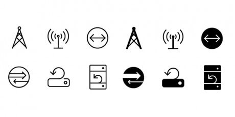 networking line icons set