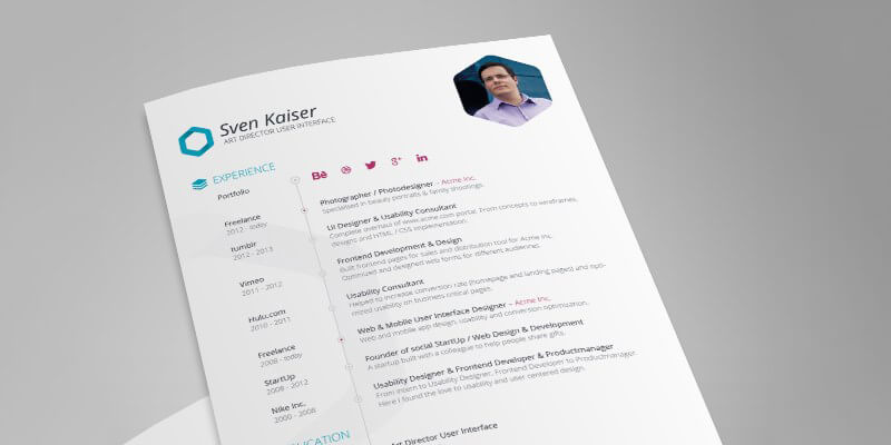 vita resumecv indesign template bypeople - Indesign Template Resume