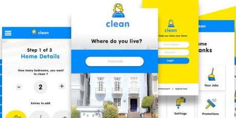 beautiful cleaning app psd ui template