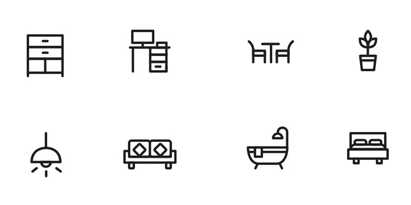 Home decor furniture ai eps svg psd icons bypeople for Decor outline