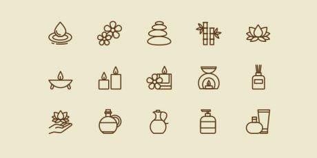 beauty spa ai icons set