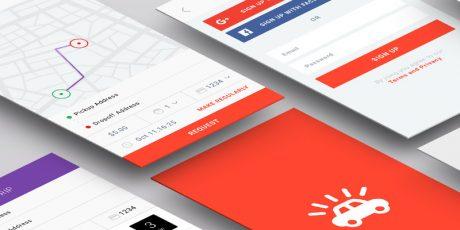 concept taxi app sketch ui kit