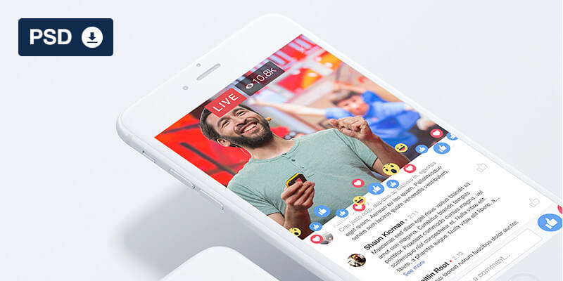 facebook live ui psd mockup bypeople