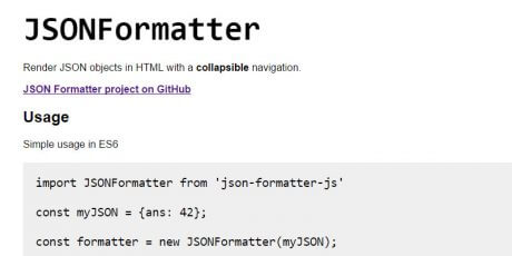 json to html formatting javascript library
