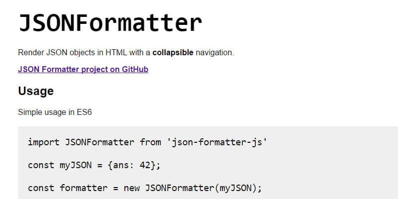 JSONFormatter: JSON-to-HTML Formatting JavaScript Library | Bypeople