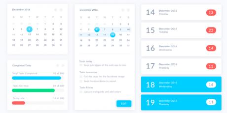 monthly calendar sketch ui