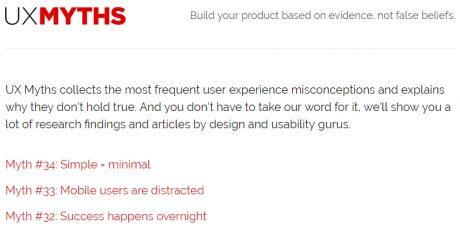 ux design misconceptions checklist