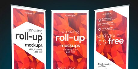 colorful psd roll up banner mockup