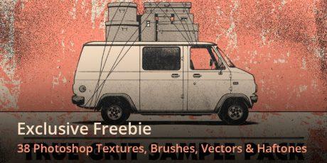 photoshop textures brushes vectors haftones