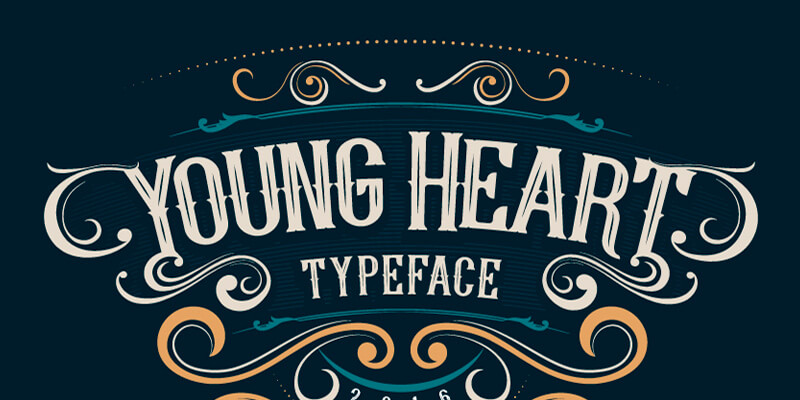 Young Heart Vintage Poster Typeface