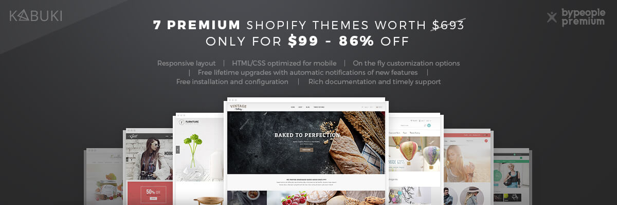 7 Premium Shopify Themes – Lifetime Updates | Bypeople
