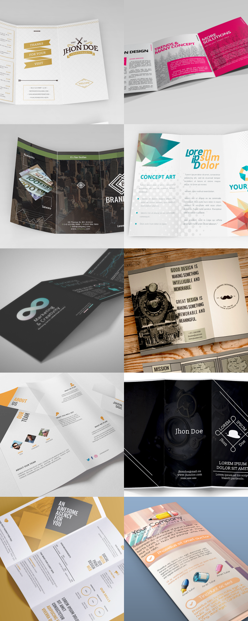 25 editable illustrator tri fold brochure templates bypeople and different styles created to match current design trends the elements included can be used as a base for some more tri fold templates maxwellsz