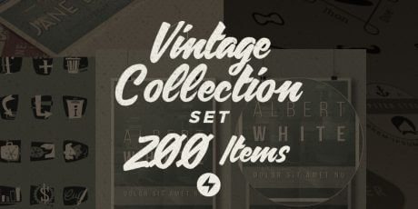ai vintage elements collection set