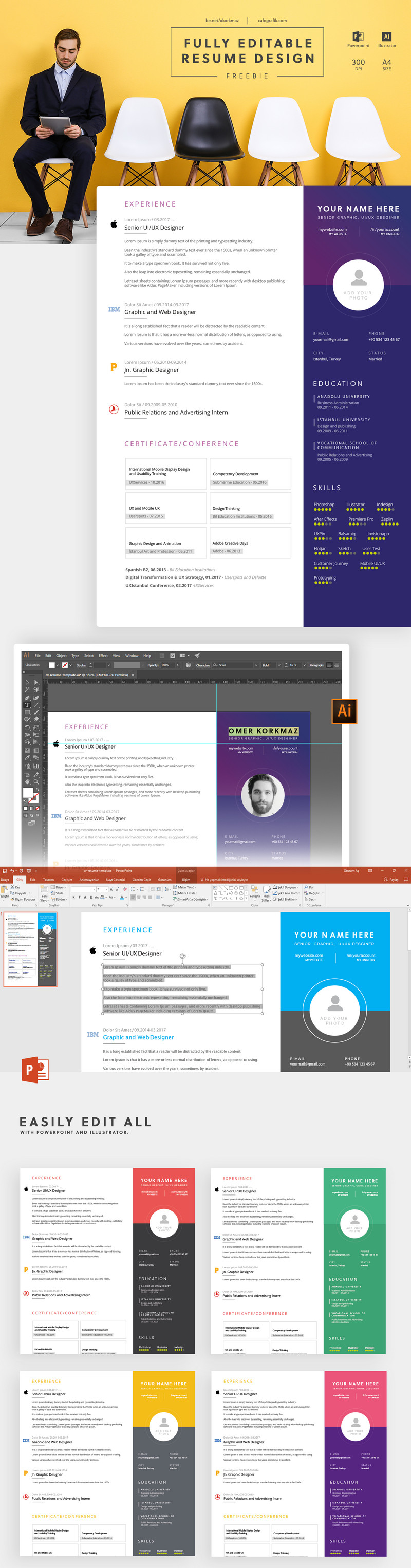 a colorful fully editable resume template cv it includes powerpoint ppt and adobe illustrator source files