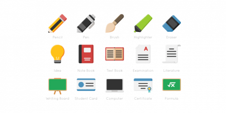 flat education icon set