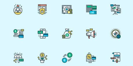 free colorful business sketch icons