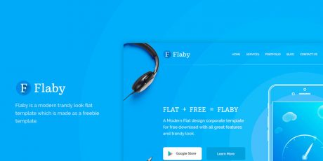 free flat landing page psd template